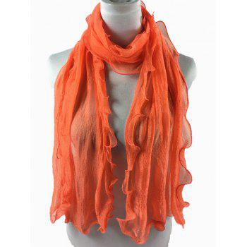 Soft Wrinkle Shimmer Long Shawl Scarf - ORANGE