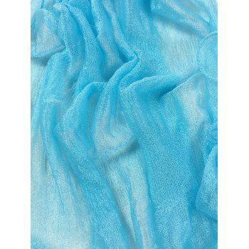 Soft Wrinkle Shimmer Long Shawl Scarf -  AZURE