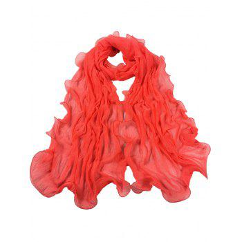 Soft Wrinkle Shimmer Long Shawl Scarf - WATERMELON RED WATERMELON RED