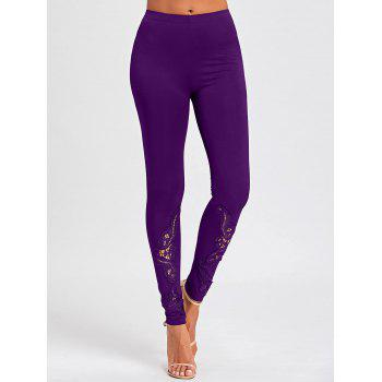 Tight Hollow Out Lace Panel Leggings - PURPLE PURPLE