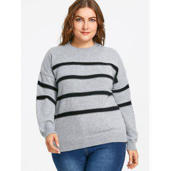 Plus Size Striped Drop Shoulder Sweater - GRAY GRAY