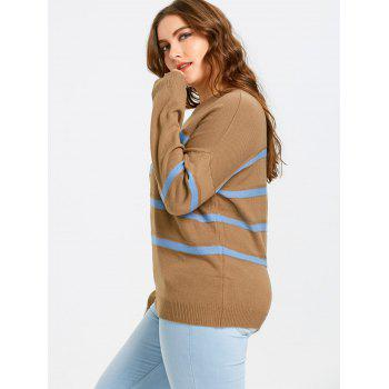 Plus Size Striped Drop Shoulder Sweater - CAMEL 5XL