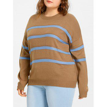 Plus Size Striped Drop Shoulder Sweater - CAMEL CAMEL