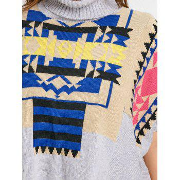 Turtleneck Plus Size Geometric Poncho Sweater - GRAY GRAY