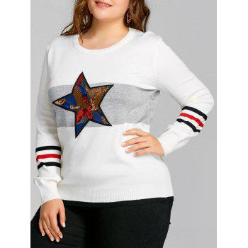 Sequined Star Striped Plus Size Sweater - WHITE WHITE
