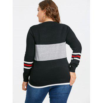 Sequined Star Striped Plus Size Sweater - BLACK BLACK