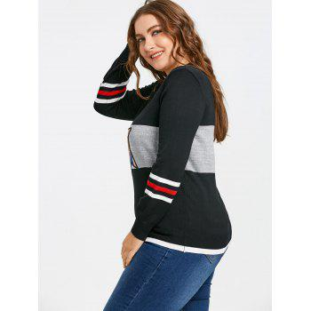 Sequined Star Striped Plus Size Sweater - BLACK ONE SIZE