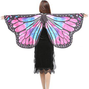 Elegant Butterfly Shape Chiffon Long Shawl Scarf - ROSE RED + BLUE ROSE RED / BLUE