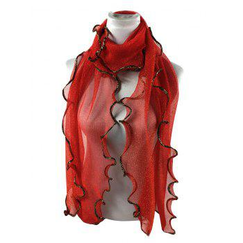 Vintage Golden Brim Shimmer Long Scarf - BRIGHT RED