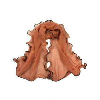 Vintage Golden Brim Shimmer Long Scarf - COFFEE COFFEE