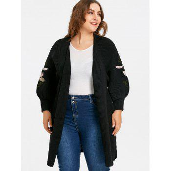 Flower Embroidered Drop Shoulder Plus Size Knitted Coat - BLACK 3XL