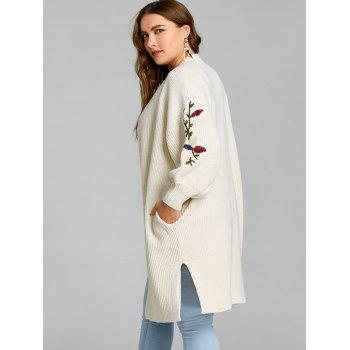 Flower Embroidered Drop Shoulder Plus Size Knitted Coat - OFF WHITE 3XL