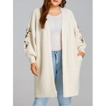 Flower Embroidered Drop Shoulder Plus Size Knitted Coat - OFF-WHITE OFF WHITE