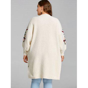 Flower Embroidered Drop Shoulder Plus Size Knitted Coat - OFF WHITE 2XL