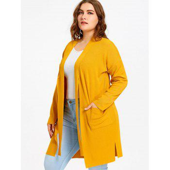 Plus Size Drop Shoulder Side Slit Knitted Coat - YELLOW YELLOW