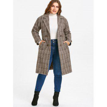 Drop Shoulder Plaid Tweed Plus Size Coat - COFFEE 4XL
