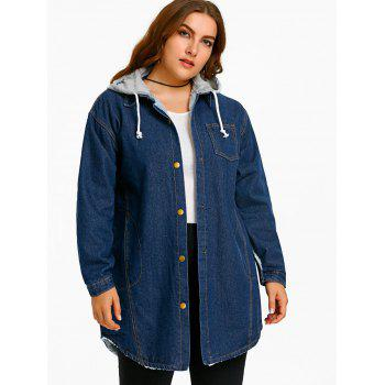 Plus Size Hood Denim Detachable Coat - BLUE BLUE