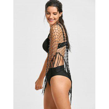 Bead Crochet Fringed Beach Cover Up - Noir ONE SIZE