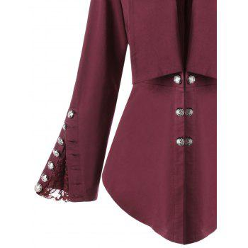 Plus Size Button Shawl Collar Lace Insert Jacket - WINE RED XL