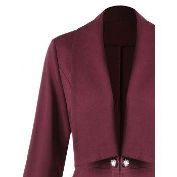 Plus Size Button Shawl Collar Lace Insert Jacket - WINE RED 2XL