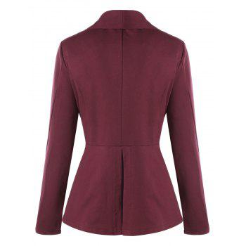 Plus Size Button Shawl Collar Lace Insert Jacket - WINE RED WINE RED