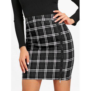 Zip Side Lace Trim Plaid Skirt - BLACK XL