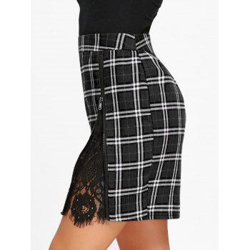 Zip Side Lace Trim Plaid Skirt - BLACK 2XL