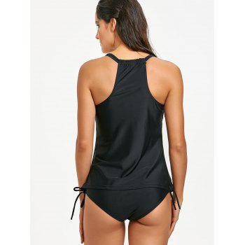 Padded Cami Strap Tankini Set - BLACK L