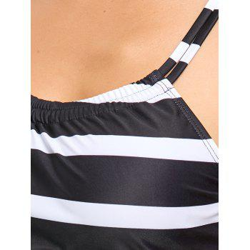Striped Tankini Swimwear - WHITE/BLACK 2XL