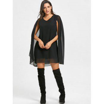 Chiffon V Neck Cape Dress - BLACK XL