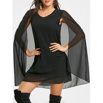 Chiffon V Neck Cape Dress - BLACK BLACK