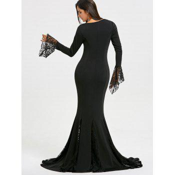 Lace Panel Deep V Neck Mermaid Prom Dress - BLACK L