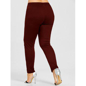 Rose Applique Plus Size Leggings - WINE RED 5XL