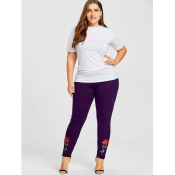 Rose Applique Plus Size Leggings - PURPLE 4XL
