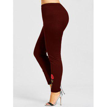Rose Applique Plus Size Leggings - WINE RED 4XL
