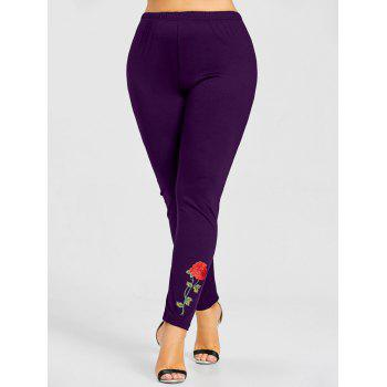 Rose Applique Plus Size Leggings - PURPLE 5XL
