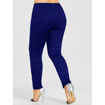 Rose Applique Plus Size Leggings - BLUE BLUE