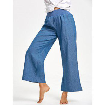 Elastic Waist Wide Leg Pants - DENIM BLUE 2XL