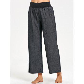Elastic Waist Wide Leg Pants - BLACK M