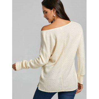 Skew Neck Tunic Knitwear - OFF WHITE M