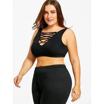 Plus Size Criss Cross Camisole Bra - BLACK BLACK