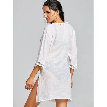 Slit Plunge Neck Crochet Insert Cover Up Dress - WHITE WHITE
