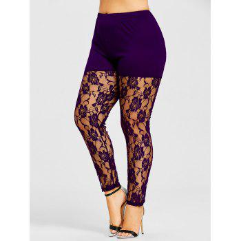 Sheer Lace Panel Plus Size Leggings - PURPLE PURPLE
