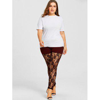 Sheer Lace Panel Plus Size Leggings - WINE RED WINE RED