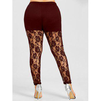 Sheer Lace Panel Plus Size Leggings - WINE RED 2XL