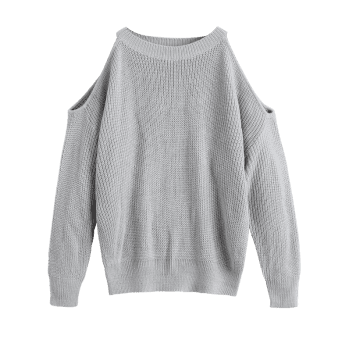 Cold Shoulder Crew Neck Pullover Sweater - GRAY ONE SIZE