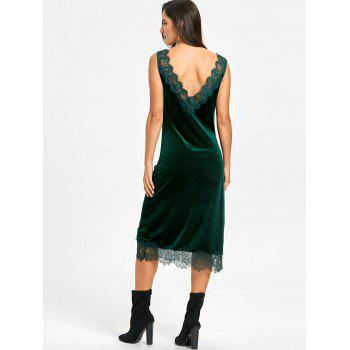 Plunging Lace Trim Velvet Dress - BLACKISH GREEN M