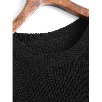 Cold Shoulder Crew Neck Pullover Sweater - BLACK ONE SIZE