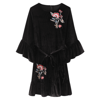 Floral Embroidered Velvet Ruffles Mini Dress - BLACK S