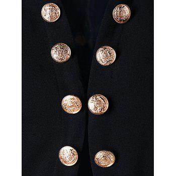 Buttons Chiffon Trimmed Jacket - BLACK 2XL